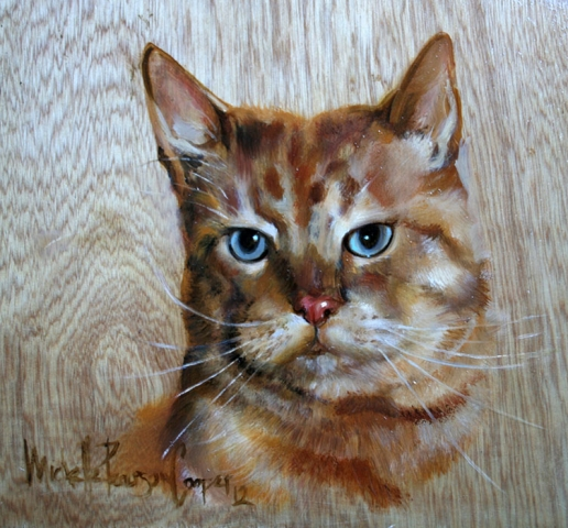 Oil painting of a cat