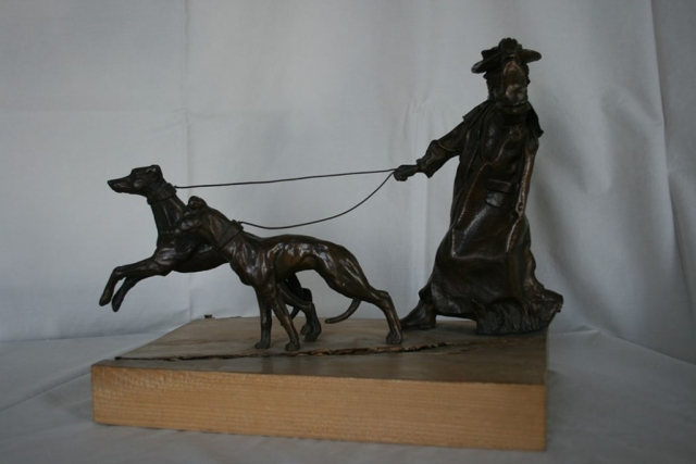 Bronze Statue Walking Lurchers