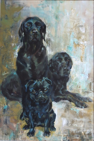 Painting of three black dogs
