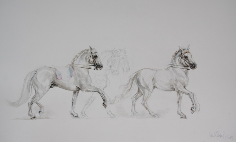 Andalusian Horses Watercolour Painting