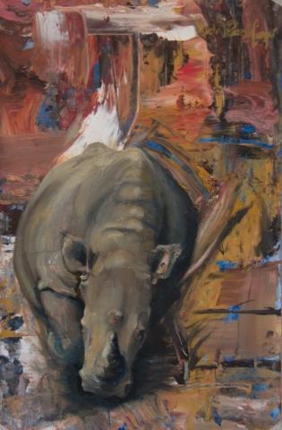 Charging Rhino Oil Painting