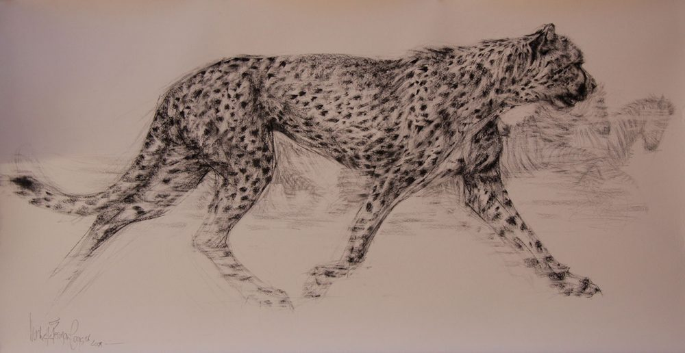 Hunting Cheetah Painting