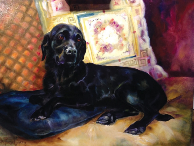 Commission Painting of a Black Labrador