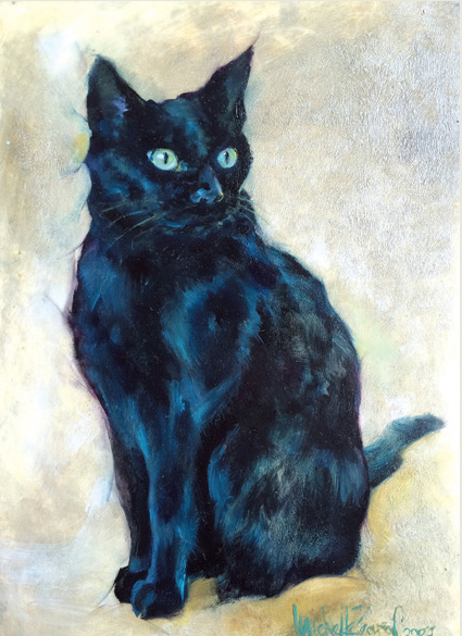 Commission Painting of a Black Cat