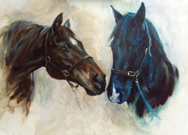 Commission Portrait of two Horses