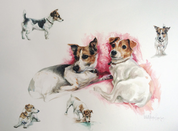 Commission, painting of two dogs Jack Russell Terriers