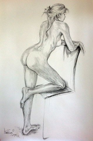 Charcoal Nude Drawing
