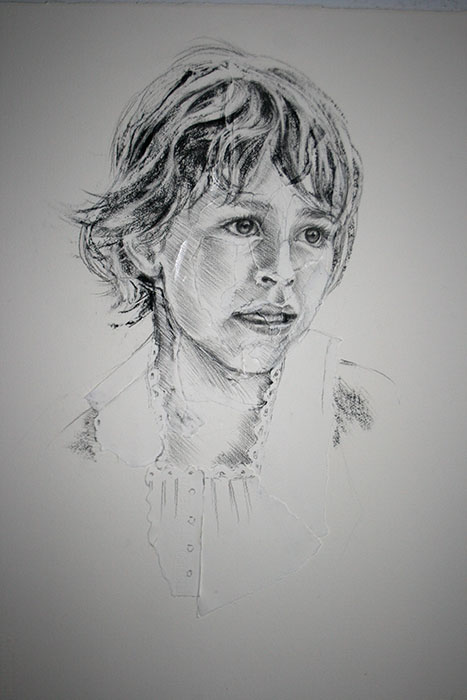 Charcoal Portrait of a young girl