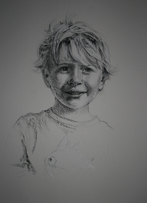 Charcoal Drawing of a boy