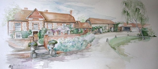 Millbrook House in the Summer Watercolour Painting