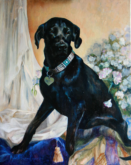 Painting of black dog