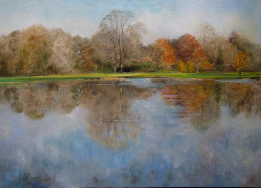 Scenic Autumn Oil Painting