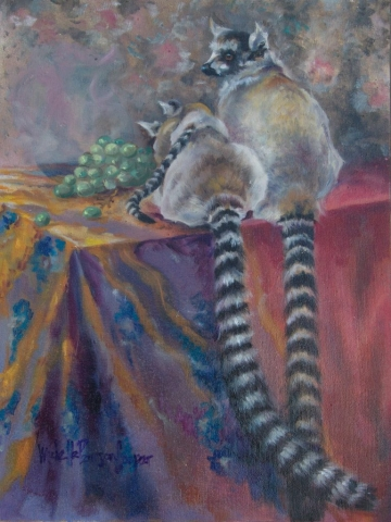 Family of Ringtails Oil Painting