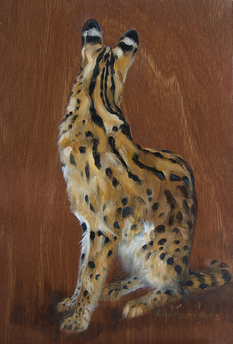 Oil Painting of a Serval Wild Cat
