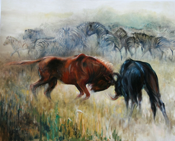 Painting of Wildebeests fighting