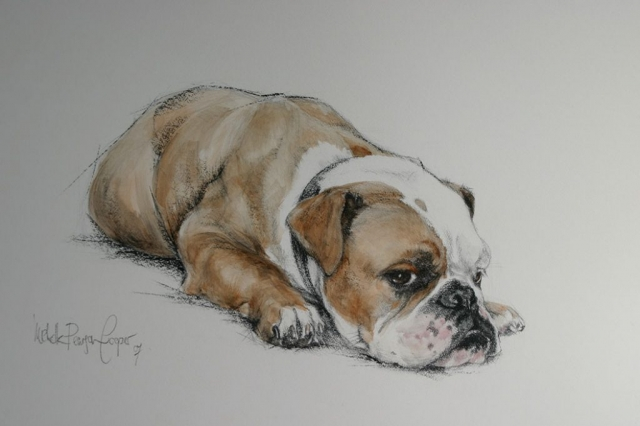 Bulldog Watercolour Painting