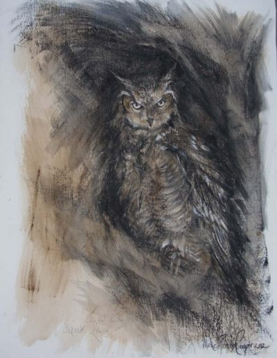 African Eagle Owl 30 x 22 inches.