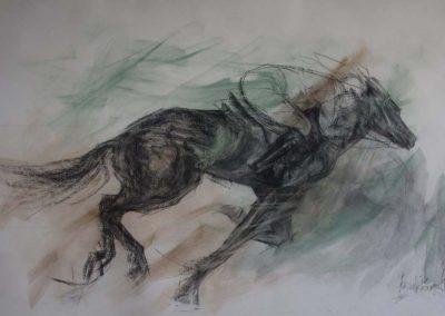 'Aliba' Charcoal with Watercolour Wash