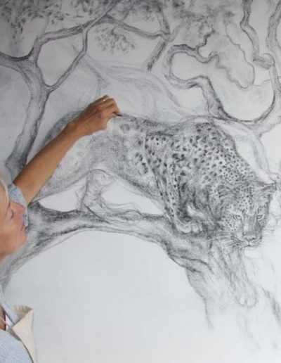 Artist and Leopard Charcoal
