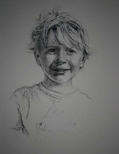 Boy on Layered Paper 22 x 30 inches.