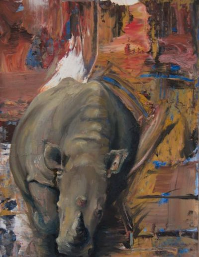 Charging Rhino Oil on Panel