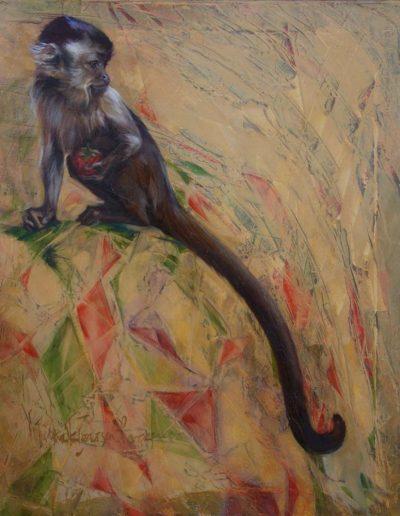 Harlequin Monkey Oil on Board 20 x 16 inches.