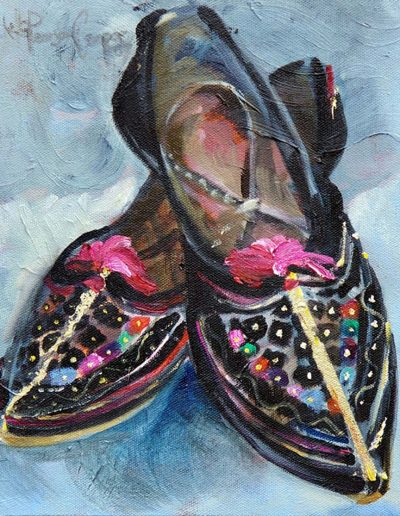 Indian Slippers oil on canvas 9 x10 inches