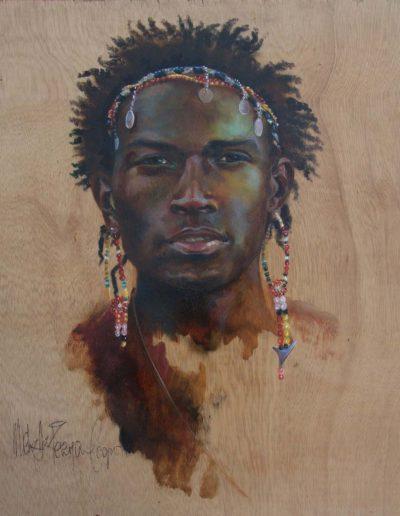 Maasai Warrior Oil on Wood 16 x 16 inches.