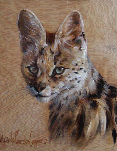 Portrait of Serval Wild Cat Oil on Wood Panel