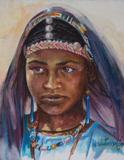 Targuia Girl Oil on Canvas 10 x 10 inches.