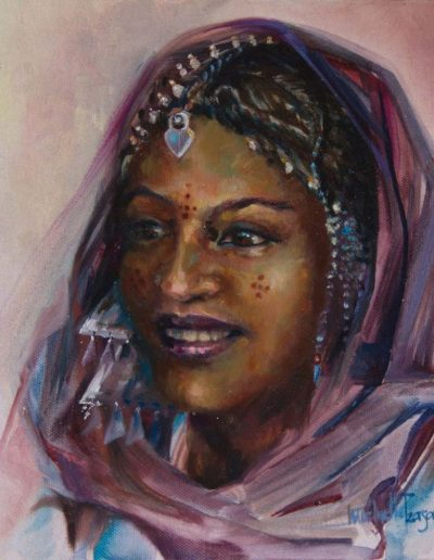 Targuia Woman Oil on Canvas 10 x 10 inches - Framed