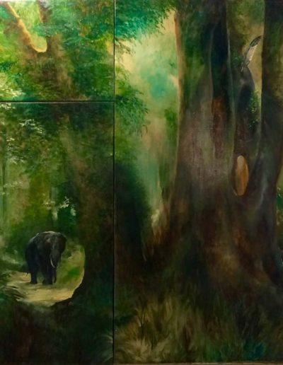 'The Last Knysna Eleghant' Oil on Canvas - 70 x 84 inches