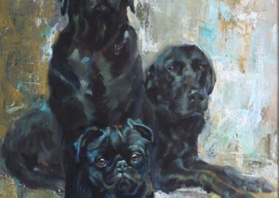 Three Black Dogs Oil on Panel 24 x 38 inches.