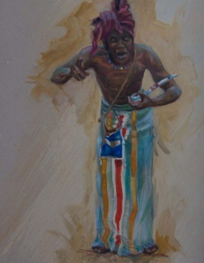 Witch Doctor Oil on Gesso 14 x 8 inches - Framed